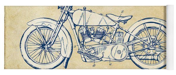 Yoga Mat featuring the digital art Vintage Harley-davidson Motorcycle 1928 Patent Artwork by Nikki Smith