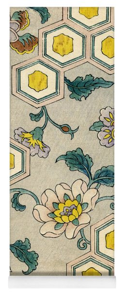 Vintage Japanese Illustration Of Blossoms On A Honeycomb Background Yoga Mat