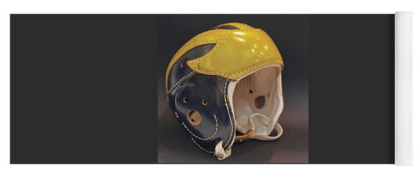 Yoga Mat featuring the photograph Vintage Leather Wolverine Helmet by Michigan Helmet