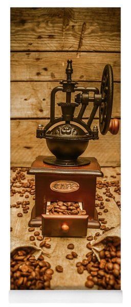Vintage Manual Grinder And Coffee Beans Yoga Mat