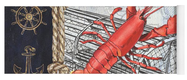 Vintage Nautical Lobster Yoga Mat