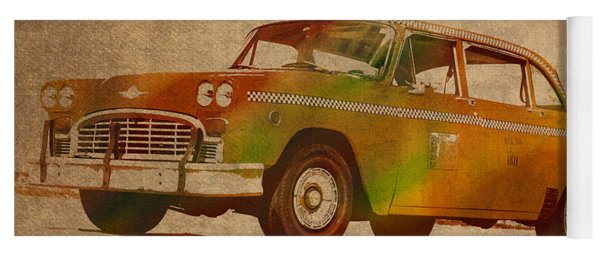 Vintage New York City Taxi Cab Watercolor Painting On Worn Canvas Yoga Mat