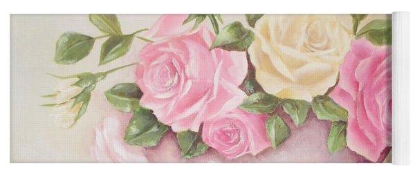 Vintage Roses Shabby Chic Roses Painting Print Yoga Mat
