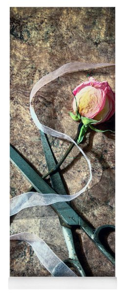 Vintage Scissors, Dried Pink Rose And Ribbon Yoga Mat
