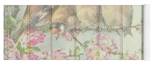 Vintage Shabby Chic Floral Faded Birds Design Yoga Mat