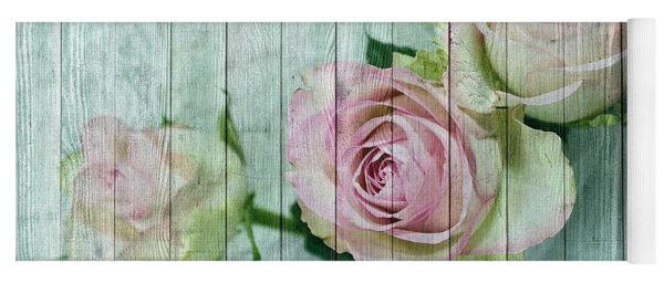 Vintage Shabby Chic Pink Roses On Wood Yoga Mat