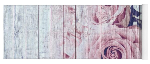 Vintage Shabby Chic Dusky Pink Roses On Blue Wood Effect Background Yoga Mat