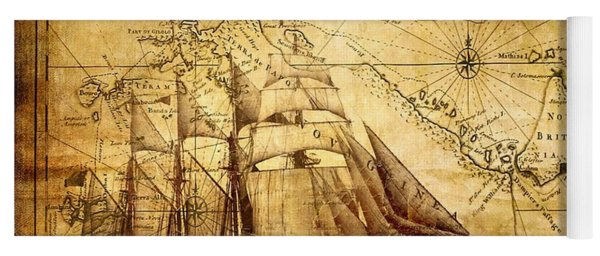 Vintage Ship Map Yoga Mat