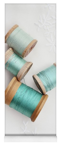 Vintage Spools Of Thread Yoga Mat