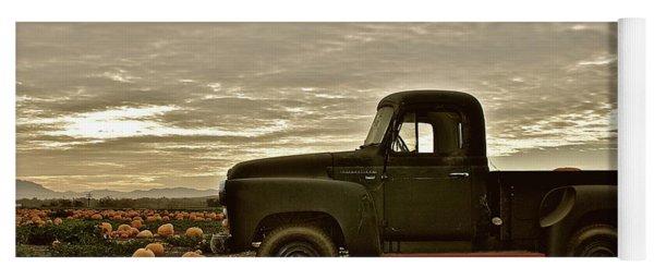 Vintage Truck Two In Pumpkin Graveyard Yoga Mat