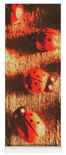 Vintage Wooden Ladybugs Yoga Mat