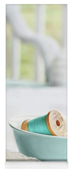 Vintage Wooden Spools Of Thread In Vintage Tea Cup Yoga Mat