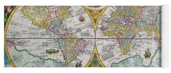Vintage World Map Yoga Mat