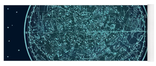 Vintage Zodiac Map - Teal Blue Yoga Mat