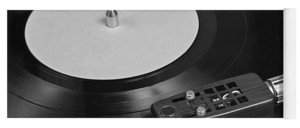 Vinyl Record Playing On A Turntable Overview Yoga Mat
