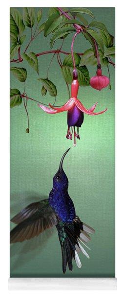 Violet Sabrewing Hummingbird And Fuchsia Yoga Mat