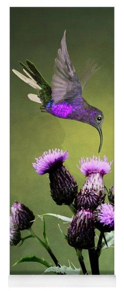Violet Sabrewing Hummingbird And Thistle Yoga Mat