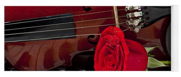 Violin And Rose On Piano Yoga Mat