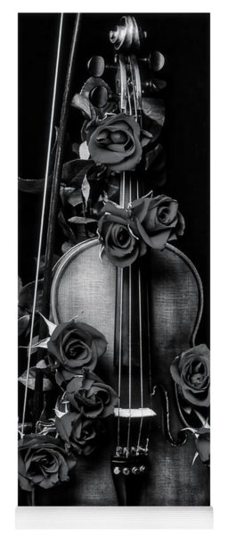 violin covered in roses In Black And White Yoga Mat
