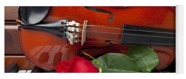Violin With Rose On Piano Yoga Mat