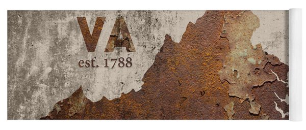 Virginia State Map Industrial Rusted Metal On Cement Wall With Founding Date Series 028 Yoga Mat