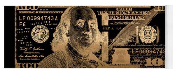 One Hundred Us Dollar Bill - $100 Usd In Gold On Black Yoga Mat