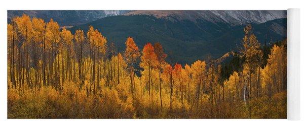 Yoga Mat featuring the photograph Vivid Autumn Aspen And Mountain Landscape by Cascade Colors
