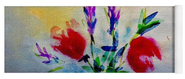 Vivid Flowers Abstract Yoga Mat