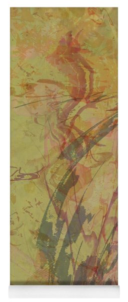Wabi Sabi Ikebana Rose On Yellow Green Yoga Mat