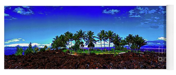 Waikoloa Beach Golf Course Lava And Palm Trees  Yoga Mat