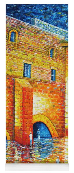 Yoga Mat featuring the painting Wailing Wall Original Palette Knife Painting by Georgeta Blanaru