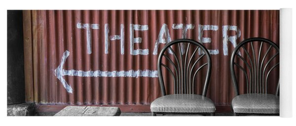 Corrugated Metal Theater Sign Yoga Mat