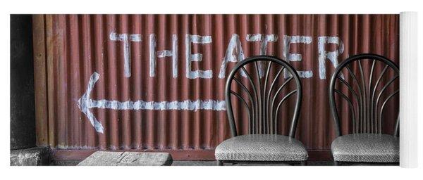 Corrugated Metal Theater Sign Yoga Mat