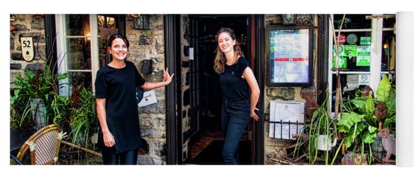 Waitresses At Outdoor French Terroir In Old Quebec City Yoga Mat