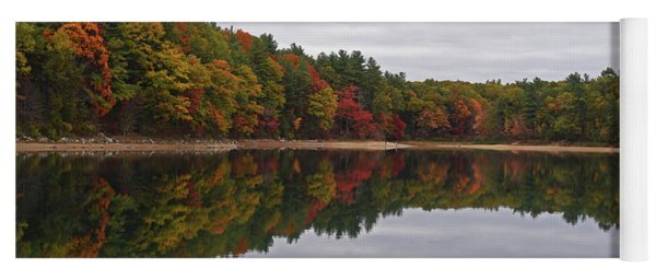Walden Pond Fall Foliage Concord Ma Reflection Trees Yoga Mat