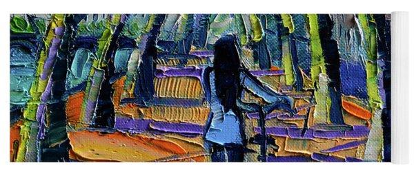Walk Beneath The Plane Trees Modern Impressionist Palette Knife Painting Yoga Mat