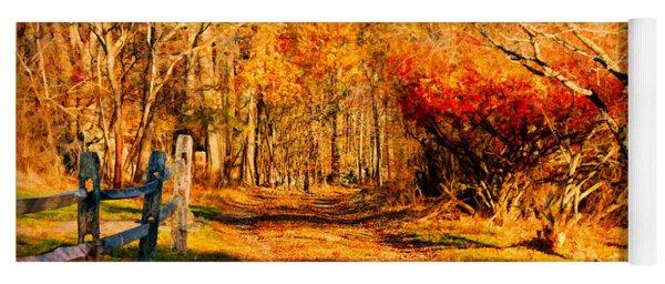 Walking Down The Autumn Path Yoga Mat