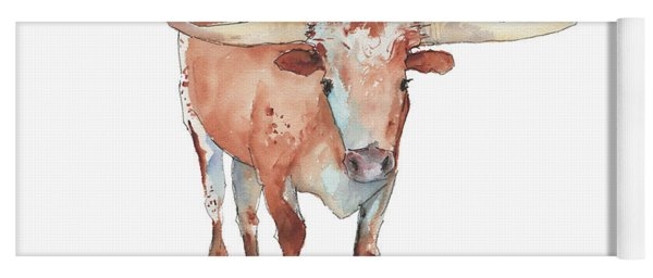 Walking Tall Texas Longhorn Watercolor And Ink By Kmcelwaine Yoga Mat