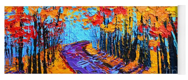 Walking Within - Enchanted Forest Collection - Modern Impressionist Landscape Art - Palette Knife Yoga Mat