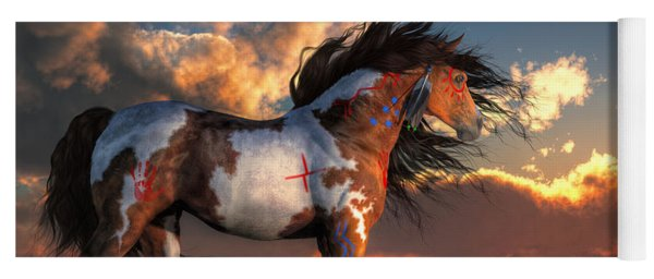 Yoga Mat featuring the digital art Warhorse by Daniel Eskridge