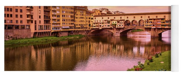 Sunset At Ponte Vecchio In Florence, Italy Yoga Mat