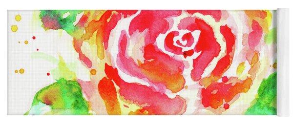 Warm Red Rose  Yoga Mat