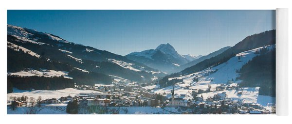 Warm Winter Day In Kirchberg Town Of Austria Yoga Mat