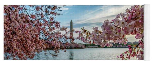 Washington Monument Through Cherry Blossoms Yoga Mat