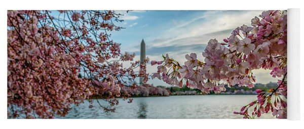 Washington Monument Through Cherry Blossoms Yoga Mat