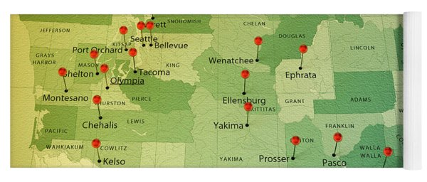 Washington State Map Square Cities Straight Pin Vintage Yoga Mat