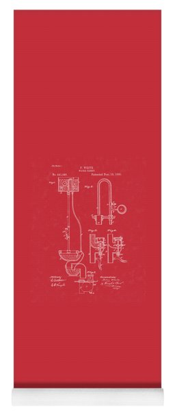 Water Closet Patent Art Red Yoga Mat