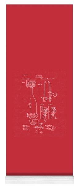 Water Closet Patent Art Red Yoga Mat