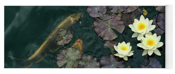 Water Lilies And Koi Yoga Mat