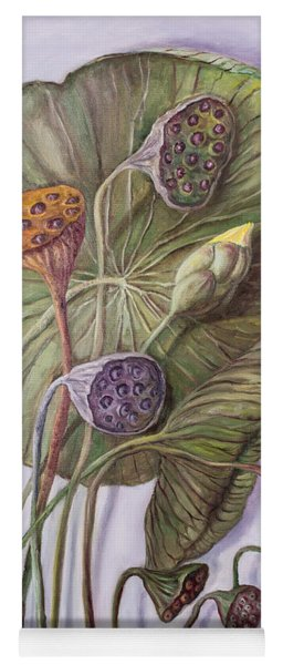 Water Lily Seed Pods Framed By A Leaf Yoga Mat